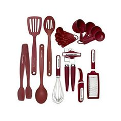 Utensil Cooking Set Red New Kitchen 17 Piece Safe Silicone Nylon Spoon Cup Home  #KitchenAid