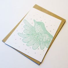 Postcard green bird perfect for kids of a nursery by EssiDesign