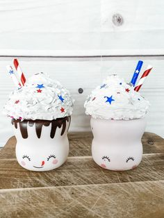 Fourth of July. Red White and Blue. Independence day, Mug of July. Fits marshmallow Mugs Cute Marshmallows, How To Make Marshmallows, Wood Bead Garland, Beaded Garland, Diy Whipped Cream, Marshmallow Crafts, Fake Cake, Diy Mugs, Hot Chocolate Bars