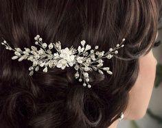 Peine del pelo novia perla nupcial peine peine del pelo