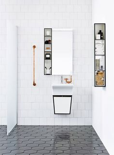 A monochrome bathroom is not hard to attain. It may give the room a luxury bathroom texture. Black and white bathroom does not have to be traditional. A black and white bathroom is a contemporary and classic style option, however… Continue Reading → Minimalist Bathroom, Bathroom Flooring, Minimalist Bathroom Design, Diy Bathroom Decor, Luxury Bathroom, Tile Bathroom, Laundry In Bathroom, Hexagon Tiles, White Bathroom