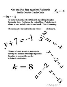 One and Two Step Simple Equations Flashcards were created by Ginger Kay Hampton for an Algebra 1 class as a quick way to review solving simple equa...