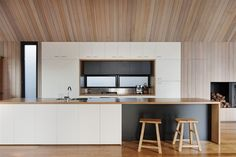 timber feature ceiling over kitchen - bring the feature down one section of a wall