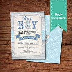 Elephant baby boy shower invitation. Rustic wood baby by CrazyLime