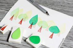 tree rubber stamp, forest rubber stamp, tree stamp set, winter forest stamp, cedar trees stamp , hand carved ruber stamp, village stamp