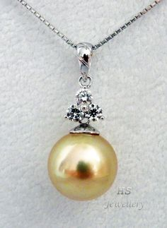 HS Rare #Golden South Sea Cultured #Pearl 13.6mm & #Diamonds .45ctw #Pendant 18KWG #Jewelry #GoldenPearl #Birthday