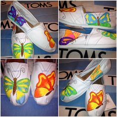 $94 Custom TOMS Shoes Butterfly Design by UniquelySouledDesign #toms #tomsshoes…