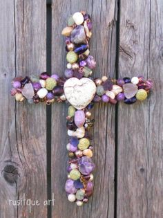 "Beaded Wire Wall Crosses, Hand sculpted beaded wire wall crosses.  Each beaded is sewn onto wire by hand with wire.  Beads are glass, metal, gemstone and crystal. , 8"" Beaded Wire Wall Cross. Plum, sage, cream, brass beads., Home Decor Project"