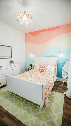 Kids Bedroom Paint, Girls Bedroom Wallpaper, Girls Room Paint, Girl Bedroom Walls, Bedroom Wall Colors, Accent Wall Bedroom, Bedroom Murals, Bedrooms, Bedroom Decor