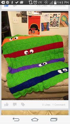 Teenage Mutant Ninja Turtles Granny Throw. TMNT crocheted blanket. Crochet Afghan