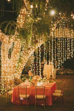 Pendant vos soirées barbecue dans le jardin, éclairez-vous grâce à des guirlandes dans les arbres qui vous entourent