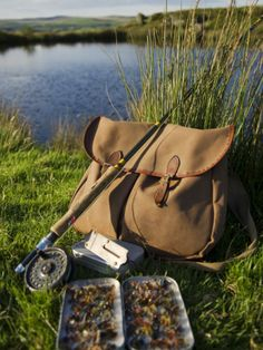 Wales, Conwy, A Trout Rod and Fly Fishing Equipment Beside a Hill Lake in North Wales, UK Photographic Print by John Warburton-lee Trout Fishing Tips, Kayak Fishing, Fly Fishing Bag, Fishing Shack, Fishing Tackle, North Wales, Wales Uk, Fly Fishing Equipment, Fishing Photography