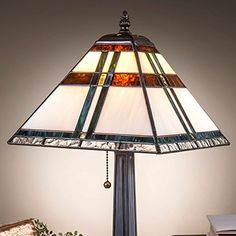 J Devlin Lam 690 TB Tiffany Stained Glass Mission Table Lamp With Blue Green Brown Accents *** Click the VISIT button for detailed description