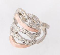Bague or blanc & or rose avec diamants