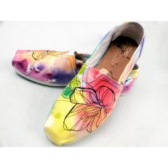 Rainbow Watercolor Hand painted Toms Shoe ($130) ❤ liked on Polyvore