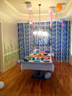 Gray, blue, purple and seaweed Spongebob Birthday Party, 1st Boy Birthday, 2nd Birthday Parties, Birthday Ideas, Bubble Guppies Birthday, Baby Shower, Finding Nemo, Shark Party, Shark Week