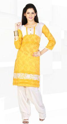 Smart Saffron Yellow Color Cotton & Jacquard #Kurti