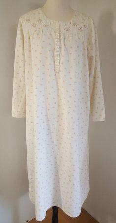 1911fd3ff1 Sleep Angels Gown Ladies Size L Pink Floral Sleepwear Cotton Flannel Lace  152  EarthAngels