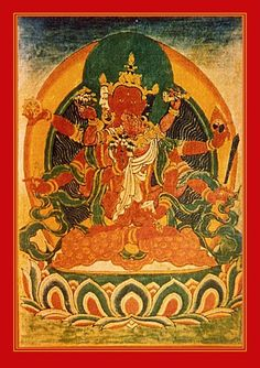 Buddha Amitabha and Dakini consort Pandaravasini are in the west, perception merges with the element fire. Infinite Light and She of the White-Cloak. They are associated with the siddhi of magnetizing. Lords of the Padma family.