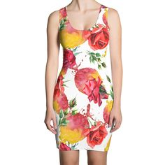 A modern white bodycon dress 👗 with vivid multicolor floral print. Casual Dresses, Fashion Dresses, Girls Dresses, White Pumps, Refashion, Bodycon Dress, Stylish, Womens Fashion, Casual Gowns