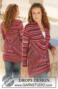 """Knitted DROPS jacket with domino squares in """"Fabel"""". Size S - XXXL. ~ DROPS Design"""