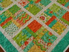 Quilted Square Table Topper in Bright Turquoise by susiquilts