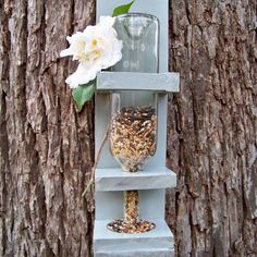 This wine bottle bird feeder is the perfect summer outside decor for your home! Homemade, and chose a color! Wine bottle not included ;) you have to drink the wine to get the bottle ;) ;) ;)
