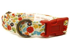 Palm Beach - Cream Multicolor Floral Tropical Flowers Girly Vintage Organic Cotton Pet Collar - Handmade in the USA ** See this great product. (This is an affiliate link and I receive a commission for the sales)