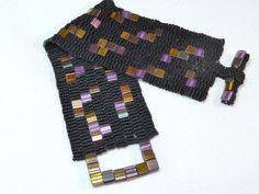 Deep Purple Sky Beadwoven Cuff Bracelet  by littlestonedesign, $59.00