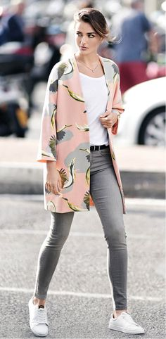 H&M.  Pink kimono-ish jacket/tunic w/ Grey jeans