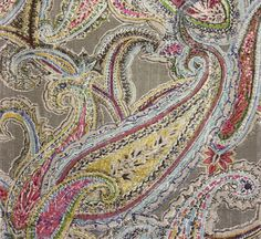 Braemar Paisley Fabric A painterly multi coloured paisley with an elephant grey background printed on pure hemp.