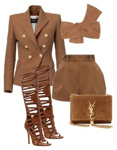 """Who Me?"" by roxysgotmoxy on Polyvore featuring Balmain, HeartSOUL, Versace, Jennifer Kate and Yves Saint Laurent"