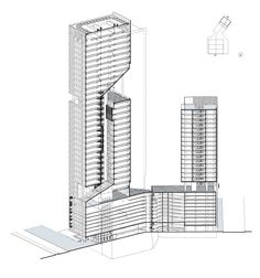 Reforma Towers Mexico City. Richard Meier & Partners Architects with Diametro Arquitectos. Award. Axonometric section diagram