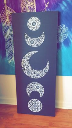 Hand-Painted || Phases of the moon Mandala ☾ https://www.etsy.com/shop/MandalasByNatalie?ref=hdr_shop_menu