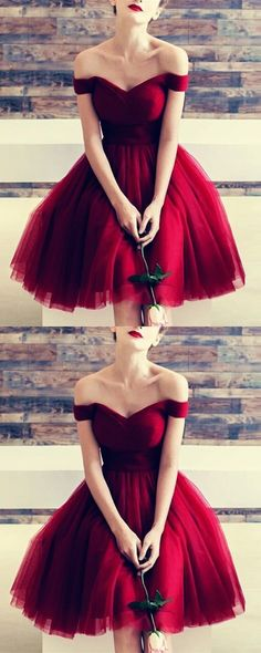 Ball Gown Prom Dress, Burgundy Tulle V-neck Off The Shoulder Bridesmaid Dresses Knee Length Prom Cocktail Dress Prom Dresses Girl Knee Length Bridesmaid Dresses, Hoco Dresses, Knee Length Dresses, Evening Dresses, Sexy Dresses, Girls Dresses, Formal Dresses, Elegant Dresses, Summer Dresses