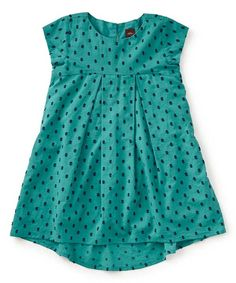Look at this Tea Collection Teal & Black Swiss Dot Hi-Lo Dress - Toddler & Girls on #zulily today!