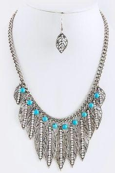7c51da65bcd8 Crystal Leaf Fashion Boho Soho Vintage Statement Necklace Set