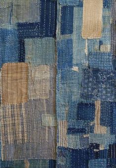 Wish I had knew more about this bit of sashiko & patchwork. It is the inside… Japanese Quilts, Japanese Textiles, Japanese Patchwork, Japanese Fabric, Japanese Style, Vintage Japanese, Sashiko Embroidery, Japanese Embroidery, Embroidery Ideas