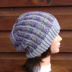Your place to buy and sell all things handmade Slouchy Hat, Knit Beanie, Beanie Hats, Winter Hats For Women, Hand Knitting, Knitted Hats, Vertical Stripes, Wool, Purple