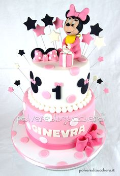 Minnie Mouse Cake Design, Torta Minnie Mouse, Minnie Mouse Birthday Cakes, Bolo Minnie, Mickey Mouse Cupcakes, Mickey Cakes, Baby Birthday Cakes, Mickey Birthday, Cake Decorating Equipment