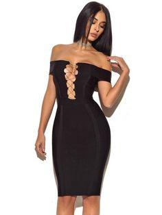 f758543da1  Erica  Gold Chain Black Off Shoulder Bandage Dress. Bandage Dresses Online Dress OnlineBlack Off ShoulderSexy OutfitsChic FashionistaBlack Bodycon ...