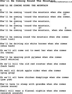 Summer-Camp Song, She'll Be Coming Round The Mountain, with lyrics and chords for Ukulele, Guitar Banjo etc.