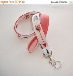 Sale  Fabric Lanyard ID Badge Holder  Lobster clasp and by Laa766  preppy / fabric / cute / patterns / key chain / office, nurse, student id, badge / key leash / gifts / key ring / design your own / add a colorful tassel