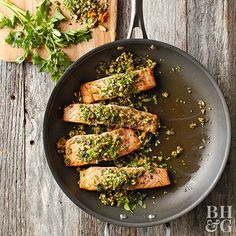Just one pan and six minutes of cooking time stand between you and this herbacious salmon supper.
