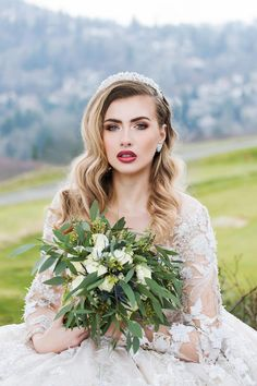 Glam bridal makeup, berry lipstick, golden brown smoky eye, old Hollywood curls, seeded eucalyptus bouquet // Betty Globa Photography