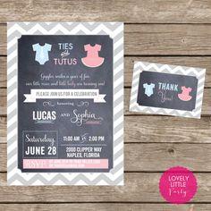 DIY Ties & Tutus Birthday Invitation Kit by lovelylittleparty, $15.00