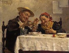 sharing a drink by Eugenio Zampighi, Italian, 1859 Vintage Couples, Old Couples, Italian Painters, Italian Artist, Hug Gif, Painting People, Couple Art, Gifs, Wine And Spirits