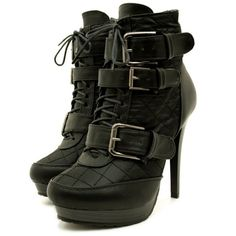 Womens Black Quilted Leather Style Buckle Platform Stiletto Heel Lace... (82 BRL) ❤ liked on Polyvore featuring shoes, boots, ankle booties, heels, sapatos, botas, black heel booties, ankle boots, black platform boots and black platform booties