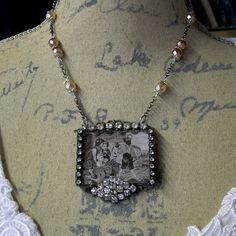 Soldered Glass Assemblage Necklace Nichols Bark by Vintagearts