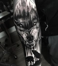 Wolf tattoo ideas are a representation of the need to trust our hearts & minds. Here is a collection of some of the best wolf tattoos which are really cool. Wolf Tattoos Men, Badass Tattoos, Viking Tattoos, Animal Tattoos, Leg Tattoos, Body Art Tattoos, Tattoos For Guys, Cool Tattoos, Circle Tattoos